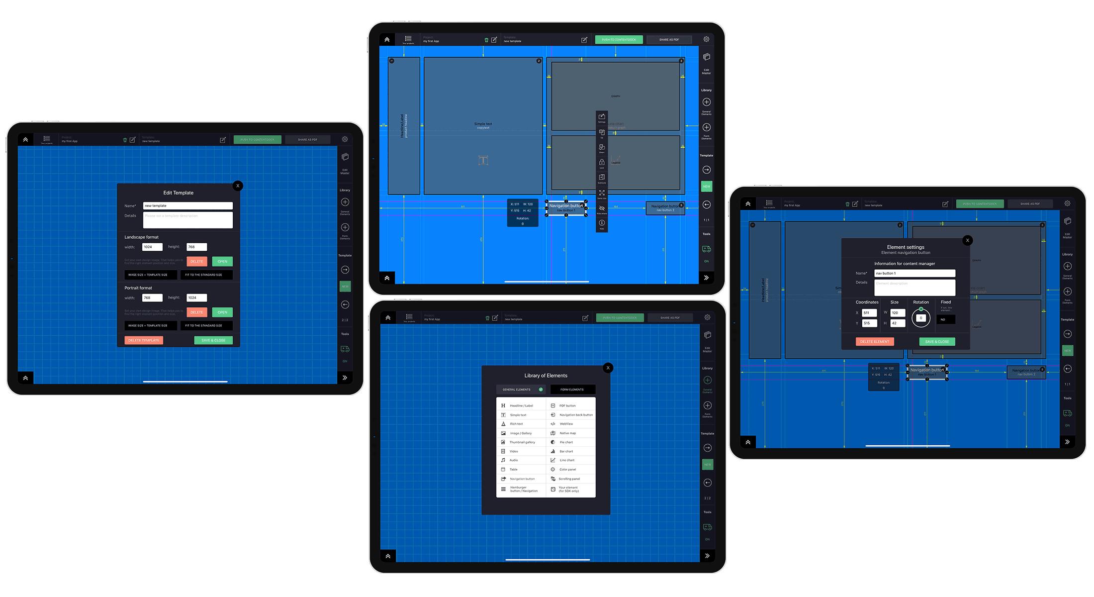 Bild: Ansicht einer geöffneten Vorlage in der Wireframing App
